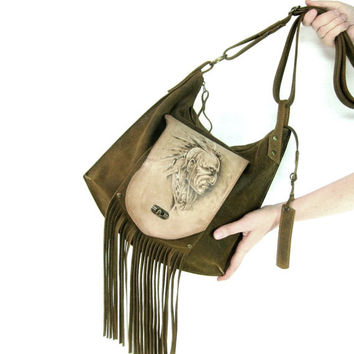 Leather bag /Crossbody bag /  Leather messenger bag / native american bag / suede bag with fringe / Men's suede bag / Bag with pyrography
