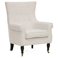 Oswald Modern Accent Chair, Beige, Wingbacks