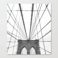 Brooklyn Bridge Black and White Canvas Print by minimaltype