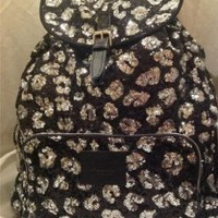 Victoria's Secret Pink Sequins Black and Silver Cheetah Bling BackPack