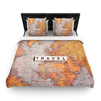 "Sylvia Cook ""Travel Map"" World Lightweight Duvet Cover"