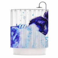 "Cecibd ""Blue"" Aqua Watercolor Shower Curtain"