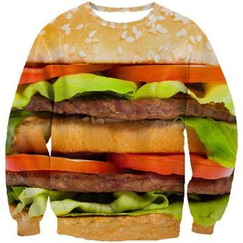 New arrive women/men fashion 3d sweatshirt jumper funny food Hamburger/burger hoodies pullovers autumn outerwear crewnecks