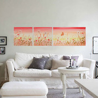 Landscape DANDELION Large Floral Painting on canvas by KsaveraART