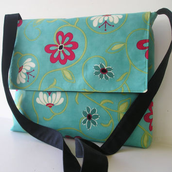 Messenger Bag in Teal and Red Floral by jazzygeminis on Etsy