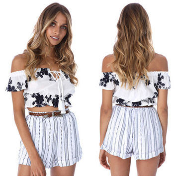 Fashion Embroidery Flower Off Shoulder Short Sleeve Frills T-shirt Crop Top