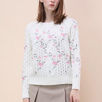 Pleasant Flowers Embroidered Cable Knit Sweater in Ivory
