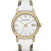 Burberry Haymarket Check and White Leather Strap Watch, 38mm | Bloomingdale's