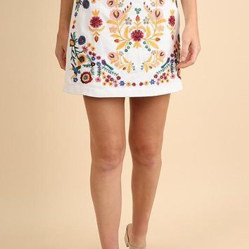 Emboidered A-Line Floral Skirt