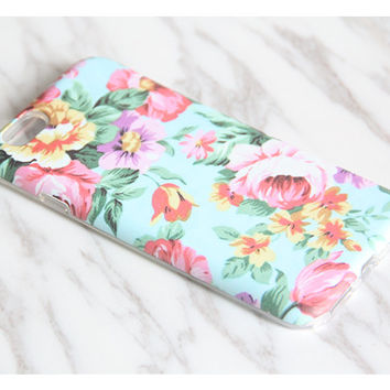 Turquoise Pink Floral Protective iPhone SE Case iPhone 6 Case Galaxy S7 Case S7 Edge Case iPhone 5 Case iPhone 5C Case KB977