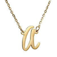 AUGUAU AOLO Initial Necklace 26 Letters from A-Z Stainless Steel Silver and Gold Color