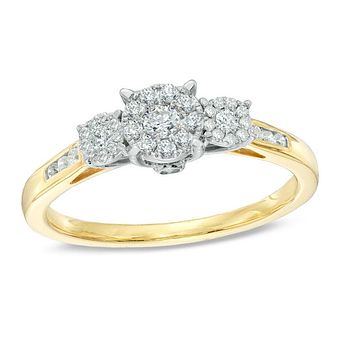 1/3 CT. T.W. Diamond Cluster Three Stone Engagement Ring in 14K Gold