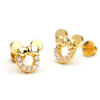 14k Gold Plated Minnie Mouse Children Screwback Earring With 925 Silver Post Baby, Toddler, Kids & Children