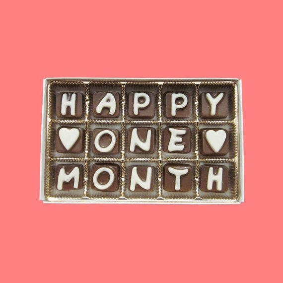 1 Month Wedding Anniversary Gifts : Happy One Month Cubic Chocolate Letters from What Candy Says