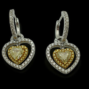 4.00 ct. Yellow canary heart & round diamonds hoop dangle earrings gold 14K