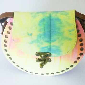 Round shoulder bag Yellow green Tie dye bag Handmade bag fake leather bag /round handbags wide 20 cm. Cross body bag