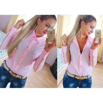 Pointed Collar Buttoned Long Sleeve Zipped Blouse