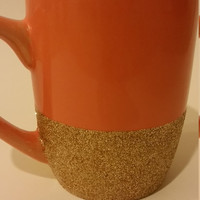 Fall Glitter Coffee Mug, Autumn, Gold Glitter, Orange Mug, Gift