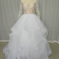 2017 Gorgeous Ball Gown Wedding Dress Scoop Sheer Long Sleeve Appliques Beading Ruffles Wedding Gown Prom Party Custom Made