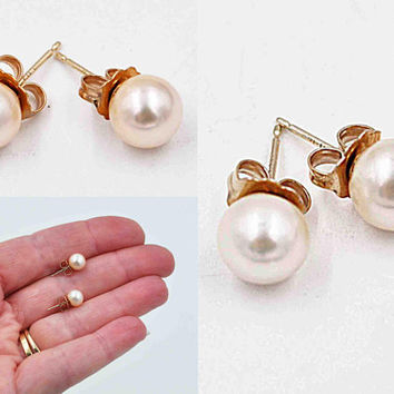 ON SALE Vintage 14K Yellow Gold Pearl Pierced Earrings, 10K Backs, White Freshwater Pearls, 7mm, 1.3 Grams, Creamy, Lustrous Beauty!  #c502