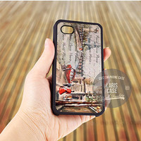 Old Paris postcard with Eiffel tower case for iPhone 5,5s,5c,4,4s,6,6+/iPod 4th 5th/Samsung Galaxy S3,S4,S5/Note 2,3/HTC One/LG Nexus