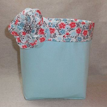 Aqua and Coral Large Fabric Basket With Detachable Fabric Flower Pin For Storage Or Gift Giving