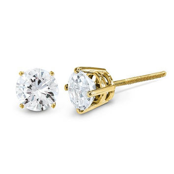 14k Yellow Gold Round Diamond Stud Earrings