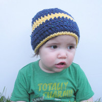 Navy Blue Tweed crochet beanie hat with yellow stripe, infants 9-12 months, ready to ship.