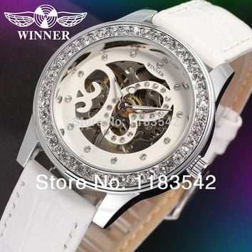 Winner Women's Watch Fashion Mechanical Hand-wind Skeleton Analog Casual Crystal Wrist Wrist Color White WRL8009M3S2