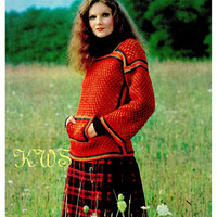 Vintage Hippie Knit Pullover Sweater with Kangaroo Pockets - PDF Pattern