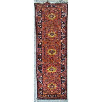 Oriental Turkman Wool Tribal Runner Rug, Berry Red/Blue