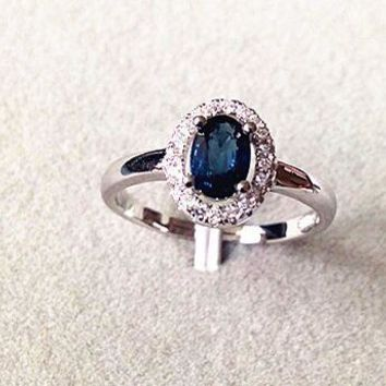 Natural dark blue sapphire gem Ring Natural gemstone Ring 925 sterling silver trendy elegant simple round women Office Jewelry