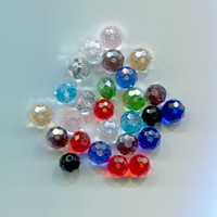 glass faceted crystal beads 7mm 8mm loose bead lot glass beads bead lot assorted