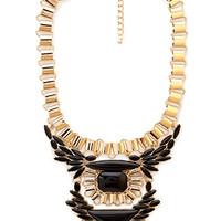 FOREVER 21 Tribal-Inspired Statement Necklace Gold/Black One