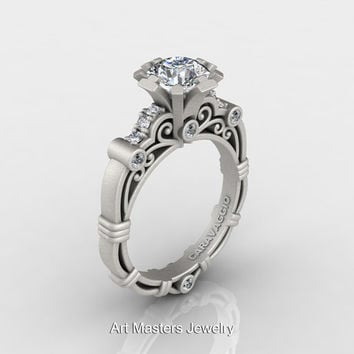 Art Masters Caravaggio 14K Matte White Gold 1.0 Ct White Sapphire Diamond Engagement Ring R623-14KMWGDWS
