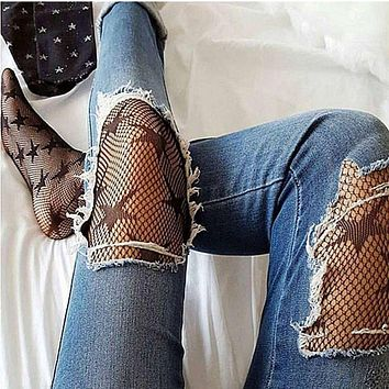 Fashion Women Lady Star Knitted Mesh Fishnet Net Pattern Sexy Pantyhose Tights Black Color 2017 New Arrival