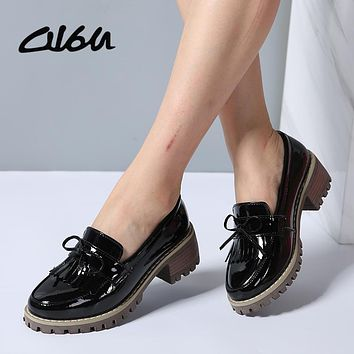 O16U Women Flats Shoes Tassel Knot Patent Leather Loafers Med Heel Shoes Boat Women Moccasin Mules Shoes for women Autumn 2018