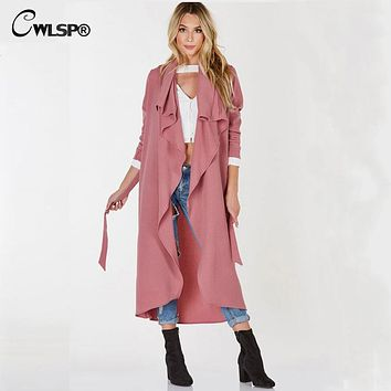 CWLSP Outwear Women Trench Coat Long 2017 Spring Autumn Lapel Black Pink Trench Cardigan Belt Loose Windbreaker abrigos mujer