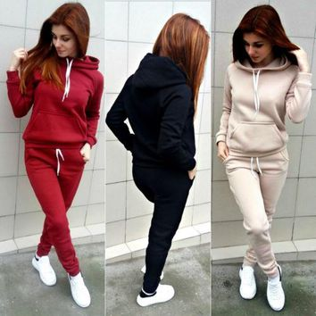 Gogoboi 2Pcs/Set Womens Casual Hooded Tops Long Pants Cotton Tracksuit Sweatshirt Sweat Suit  2pcs Outfits Set Women