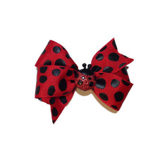 Adorable red & black ladybug hair bow - ladybug bow, baby bow, toddler bow