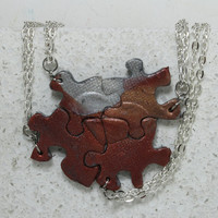 Puzzle Necklace Friendship Jewelry Set of 4 Polymer Clay jewelry