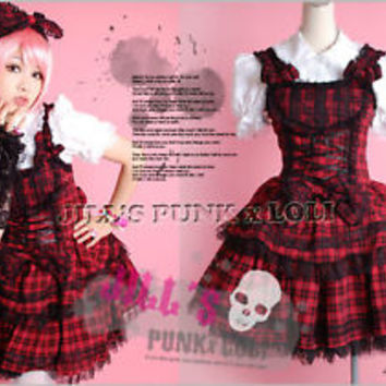 Lolita Cosplay Vampire hunter Bulleta dress 3pc HA047 S red