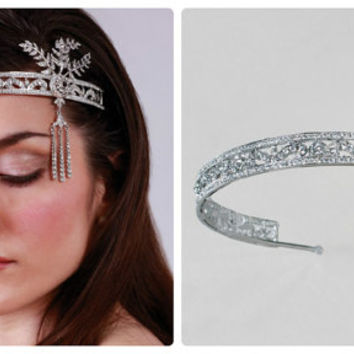 VINTAGE BRIDAL Tiara,Gatsby headpiece,Gatsby headband,Art Deco bridal tiara,Bridal Crown,Swarovski Tiara,1920's Flapper Headpiece,FACINATOR