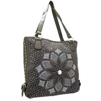 Floral Studded Rhinestone Sequin Tote Bag Purse Pewter