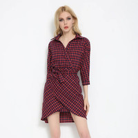 Red Plaid High Waist Surplice Shirt Dress