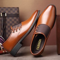Men's Modern Classic Lace Up Leather Lined Perforated Dress Oxfords Shoes