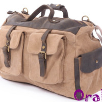 Khaki Genuine Leather Travel Bag/Messenger Bag X
