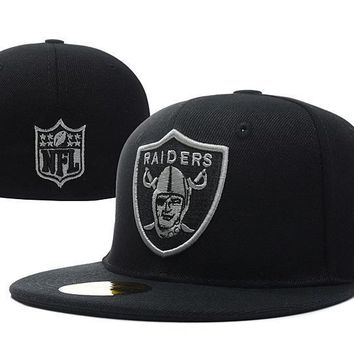 ESBON Oakland Raiders New Era 59FIFTY NFL Football Hat Black