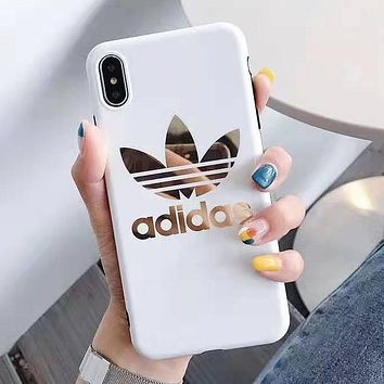 Adidas New fashion letter leaf print couple protective cover phone case White