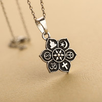 Silver Lotus ~ Multi Religious Necklace ~